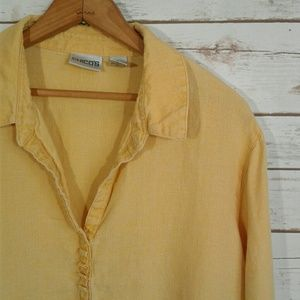 Chico's Mustard Goldenrod Yellos Linen Tunic Top